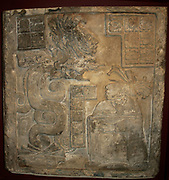 Lintel No 15, from Yaxchilan, Mayan, AD 770. Noblewoman raising spirit of an ancestor by self-hallucination caused by blood-letting.