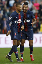 February 23, 2019 - Paris, France - Kylian Mbappe  and Nkunku during the French L1 football match between Paris Saint-Germain and Nimes at the Parc de Princes in Paris on 23 February 2019. (Credit Image: © Mehdi Taamallah/NurPhoto via ZUMA Press)