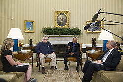 October 7, 2016 - Washington, District of Columbia, United States of America - United States President Barack Obama (second from right) meets with U.S. Secretary of Homeland Security Jeh Johnson (right) U.S. Federal Emergency Management Agency Administrator Craig Fugate (second from left) and Deputy Homeland Security Advisor Amy Pope (left) in the Oval Office of the White House in Washington, D.C., U.S., on Friday, October 7, 2016. .Credit: Rod Lamkey Jr. / Pool via CNP (Credit Image: © Rod Lamkey Jr/CNP via ZUMA Wire)