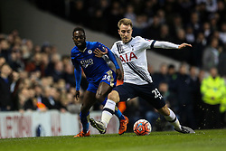 Christian Eriksen of Tottenham Hotspur keeps Nathan Dyer of Leicester City off the ball - Mandatory byline: Jason Brown/JMP - 07966386802 - 10/01/2016 - FOOTBALL - White Hart Lane - London, England - Tottenham v Leicester City - The Emirates FA Cup