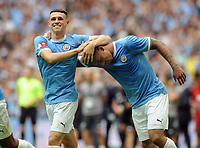 Football - 2019 FA Community Shield - Liverpool vs. Manchester City<br /> <br /> Ben Foden congratulates Jesus after scoring the winning penalty in the Shoot out, at Wembley Stadium.<br /> <br /> COLORSPORT/ANDREW COWIE