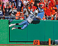 New York Post -- Running back Chris Johnson #28 of the Tennessee Titans takes a swan dive into the end zone for a touchdown after a 66-yard run during the fourth quarter against the Kansas City Chiefs at Arrowhead Stadium in Kansas City, Missouri.