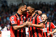 AFC Bournemouth midfielder Junior Stanislas celebrates scoring a goal to give a 1-0 lead to the home team with AFC Bournemouth forward Joshua King during the Premier League match between Bournemouth and Burnley at the Vitality Stadium, Bournemouth, England on 13 May 2017. Photo by Graham Hunt.