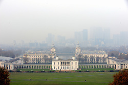 © Licensed to London News Pictures. 06/12/2016<br /> No view of Canary Wharf from Greenwich Park because of the foggy weather only the National Maritime Museum.<br /> A foggy afternoon at Greenwich Park,Greenwich,London.<br /> Photo credit :Grant Falvey/LNP