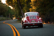 Image of a Ruby Red Porsche 356 B Coupe in California, America west coast