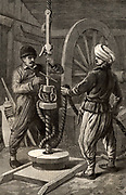 Boring a well in the Baku oilfields of South Western Azerbaijan. Engraving from 'The Illustrated London News' (London, 12 June 1886).