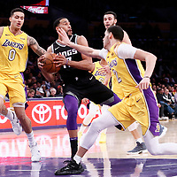 09 January 2018: Sacramento Kings guard Garrett Temple (17) drives past Los Angeles Lakers guard Lonzo Ball (2) and Los Angeles Lakers forward Kyle Kuzma (0) during the LA Lakers 99-86 victory over the Sacramento Kings, at the Staples Center, Los Angeles, California, USA.
