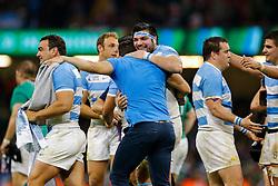 Argentina Prop Ramiro Herrera celebrates after Argentina win the match - Mandatory byline: Rogan Thomson/JMP - 07966 386802 - 18/10/2015 - RUGBY UNION - Millennium Stadium - Cardiff, Wales - Ireland v Argentina - Rugby World Cup 2015 Quarter Finals.