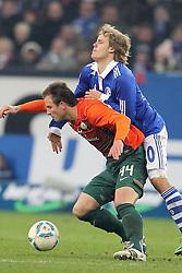 13.12.2011, Arena auf Schalke, Gelsenkirchen, GER, 1.FBL, Schalke 04 vs Werder Bremen, im BildPhilipp Bargfrede (Bremen #44) gegen Teemu Pukki (Schalke #20) // during the 1.FBL, Schalke 04 vs Werder Bremen on 2011/12/17, Arena auf Schalke, Gelsenkirchen, Germany. EXPA Pictures © 2011, PhotoCredit: EXPA/ nph/ Mueller..***** ATTENTION - OUT OF GER, CRO *****