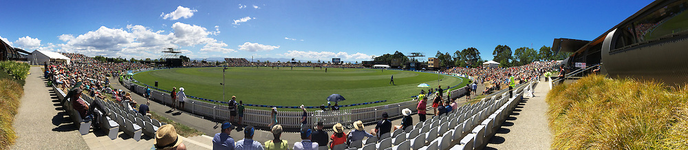 Panoramic view of Saxton Oval during Match 4 of the ANZ One Day International Cricket Series between New Zealand Black Caps and Sri Lanka at Saxton Oval, Nelson, New Zealand. Tuesday 20 January 2015. Copyright Photo: Chris Symes/www.Photosport.co.nz