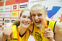 Alma Potocnik of Athlete Celje and Larisa Ocvirk of Athlete Celje celebrate after winning during basketball match between ZKK Athlete Celje and ZKK Triglav in Finals of 1. SKL for Women 2014/15, on April 20, 2015 in Gimnazija Celje Center, Celje, Slovenia. ZKK Athlete Celje became Slovenian National Champion 2015. Photo by Vid Ponikvar / Sportida