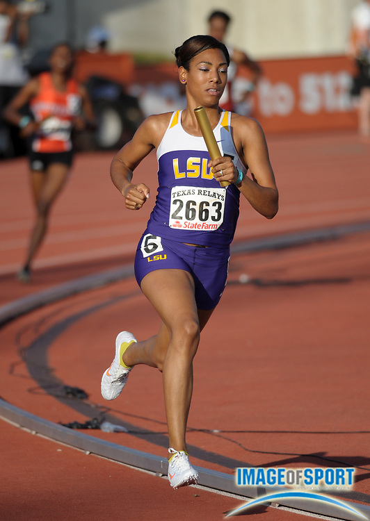 Mar 30, 2012; Austin, TX, USA; Charlene Lipsey runs the 800m anchor on the victorious LSU womens 1,600m sprint medley relay that ran 3:43.79 in the 85th Clyde Littlefield Texas Relays at Mike A. Myers Stadium.