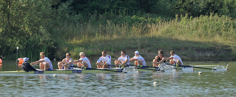 Caversham, Great Britain,  GBR M8+ Bow. Dan Ritchie, Tom Ransley, Alex Gregory, Pete Reed, Mohamed Sbihi, Andrew Triggs Hodge, George Nash, Will Satch and cox Phelan Hill. GB Rowing media day at the Redgrave Pinsent Rowing Lake. GB Rowing Training centre. Thursday  08/08/2013 [Mandatory Credit. Peter Spurrier/Intersport Images]