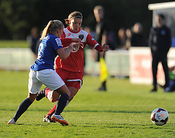 Everton ladies Vicky jones battles for the ball with Bristol Academy's Frankie Brown - Photo mandatory by-line: Alex James/JMP - Mobile: 07966 386802 23/08/2014 - SPORT - FOOTBALL - Bristol  - Bristol Academy v Everton Ladies - FA Women's Super league