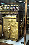 Golden outer sarcophagus of Tutenkamen (Tutankhamun) dc1340BC with guardian figures. Ancient Egyptian Pharaoh