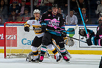 KELOWNA, CANADA - NOVEMBER 3:  Nolan Foote #29 of the Kelowna Rockets looks for the pass in front of the net of Brandon Wheat Kings on November 3, 2018 at Prospera Place in Kelowna, British Columbia, Canada.  (Photo by Marissa Baecker/Shoot the Breeze)