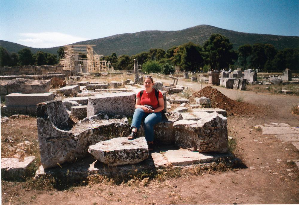 Girl sitting in apse seat in Greece