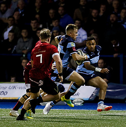 Gareth Anscombe of Cardiff Blues<br /> <br /> Photographer Simon King/Replay Images<br /> <br /> Guinness PRO14 Round 4 - Cardiff Blues v Munster - Friday 21st September 2018 - Cardiff Arms Park - Cardiff<br /> <br /> World Copyright © Replay Images . All rights reserved. info@replayimages.co.uk - http://replayimages.co.uk