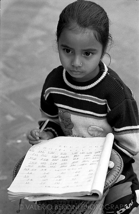 A pupil doing her homeworks.