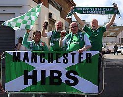 Hibernian Scottish Cup Open Top Bus Edinburgh 14 May 2016; Hibs fans from Manchester on Leith Walk during the open top bus parade in Edinburgh after winning the Scottish Cup.<br /> <br /> (c) Chris McCluskie | Edinburgh Elite media