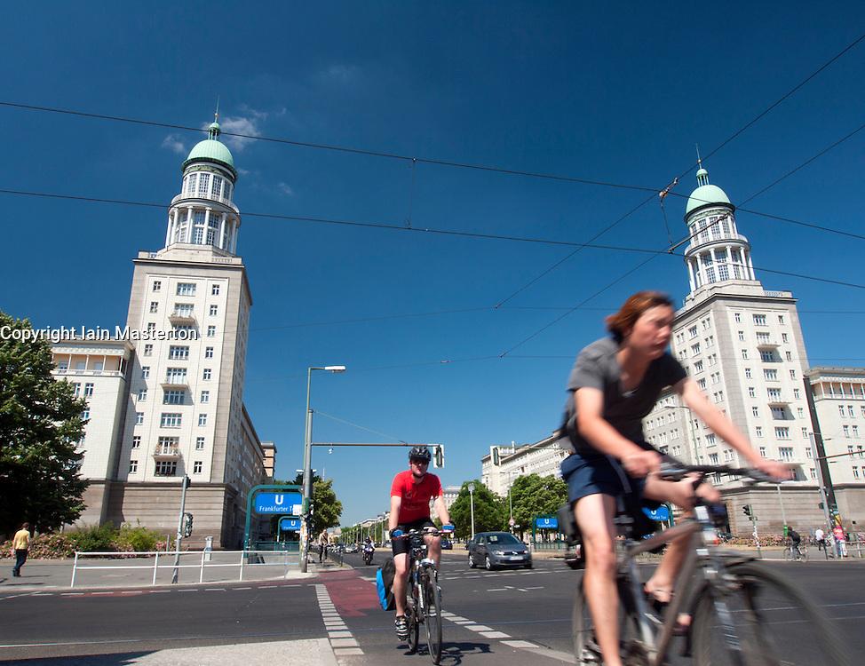 View of famous landmark towers at Frankfurter Tor on Karl Marx Allee in former east Berlin in Germany