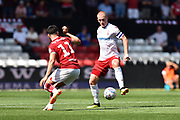 Ben Watson (8) of Nottingham Forset is challenged by Callum O'Dowda (11) of Bristol City during the EFL Sky Bet Championship match between Bristol City and Nottingham Forest at Ashton Gate, Bristol, England on 4 August 2018. Picture by Graham Hunt.