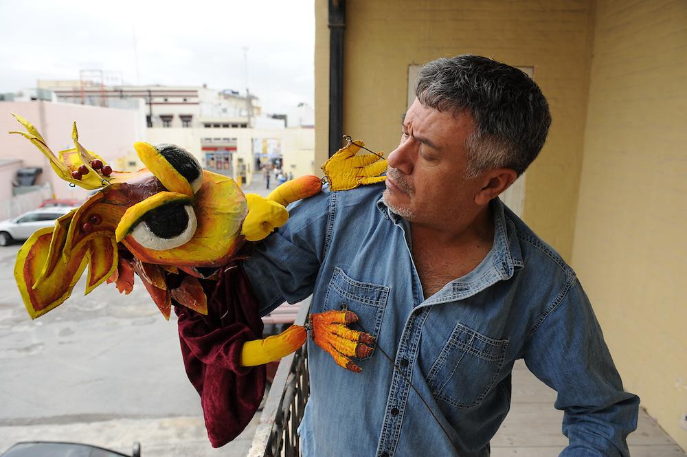 Puppeteer Luis Arnoldo Izaguirre Navarro in Matamoros, Tamaulipas, Mexico.<br /> <br /> &copy; Stefan Falke<br /> www.stefanfalke.com<br /> LA FRONTERA: Artists along the US Mexican Border
