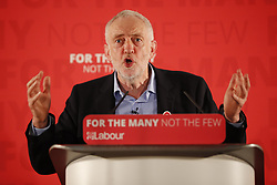 © Licensed to London News Pictures. 29/04/2017. London, UK. Labour leader JEREMY CORBYN delivers a speech at London Metropolitan University in London on 29 April 2017. Photo credit: Tolga Akmen/LNP
