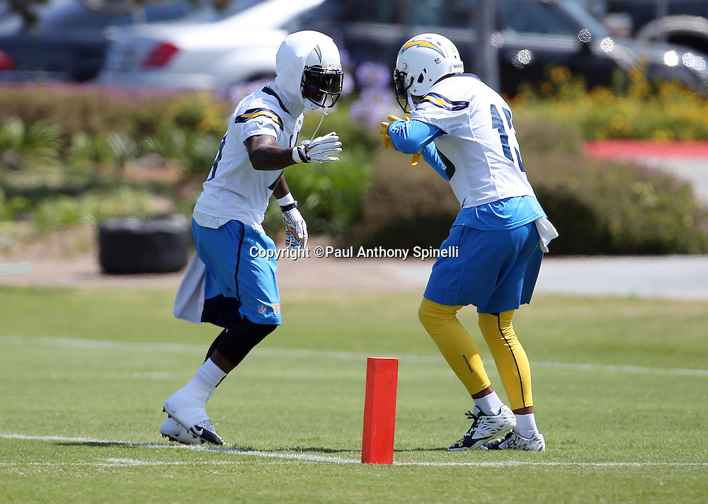 San Diego Chargers wide receiver Stevie Johnson (11) slaps hands with San Diego Chargers wide receiver Keenan Allen (13) during the San Diego Chargers Spring 2015 NFL minicamp practice on Wednesday, June 17, 2015 in San Diego. (©Paul Anthony Spinelli)