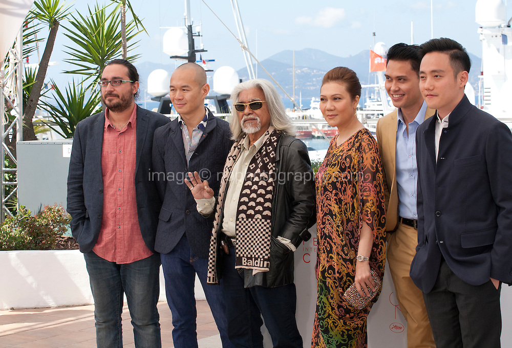 Producers Fran Borgia, Raymond Phathanavirangoon, actors Wan Hanafi Su, Mastura Ahmad, Firdaus Rahman and director Boo Junfeng at the Apprentice<br />  film photo call at the 69th Cannes Film Festival Monday 16th May 2016, Cannes, France. Photography: Doreen Kennedy