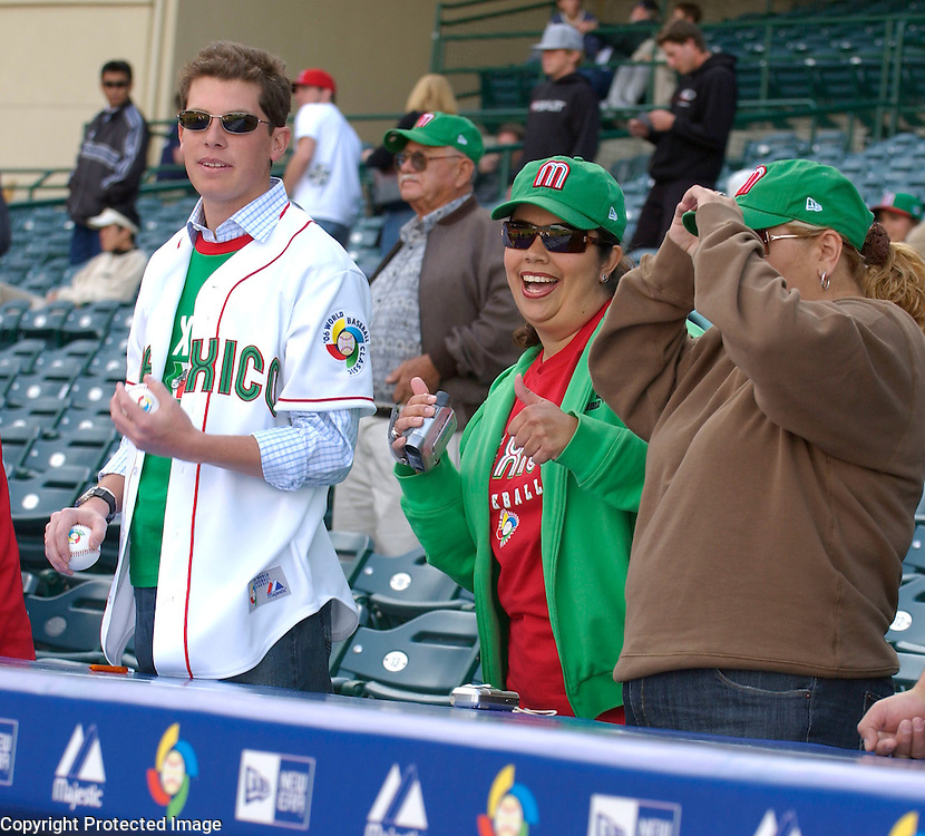 Team Mexico fans getting ready before the game against Team Japan in Round 2 action at Angel Stadium of Anaheim.
