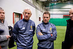 LIVERPOOL, ENGLAND - Wednesday, February 7, 2018: Ian Rush and Michael Owen during a media session at the Liverpool Academy ahead of the LFC Foundation charity match between a Liverpool FC Legends team and FC Bayern Munich Legends. (Pic by David Rawcliffe/Propaganda)