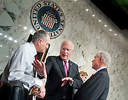 June 30, 2010 - Washington, District of Columbia, U.S., -  Senator Patric Leahy shares a light moment with Senators Jon Kyl and Jeff Sessions during a break in Solicitor General Elena Kagan's appearance before the Senate Judiciary Committee for her third day of hearings on her nomination to be an associate justice of the Supreme Court.(Credit Image: © Pete Marovich/ZUMA Press)