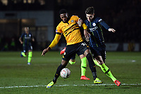 Football - 2018 / 2019 Emirates FA Cup - Fifth Round: Newport County vs. Manchester City<br /> <br /> Newport County's Jamille Matt holds off the challenge from Manchester City's John Stones, at Rodney Parade.<br /> <br /> COLORSPORT/ASHLEY WESTERN