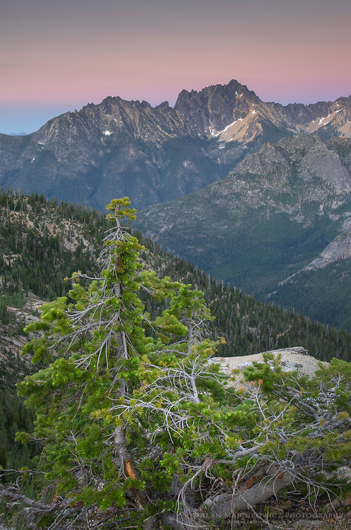 Twilight view of Silver Star Mountain from Cutthroat Pass, near Paciofic Crest Trail. North Cascades Washington.