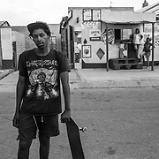 Tank is part of the youth that got involved in the skate and punk community of Soweto. Skateboarding was spread in the township thanks to the Skate Society Soweto that distributed skateboards to the youngsters of the area. Johannesburg, South Africa. April 2017. © Miora Rajaonary / Native Agency