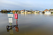 © Licensed to London News Pictures. 05/01/2014. Weybridge, UK Rising river levels in the River Thames at Weybridge, Surrey, threaten local housing along the river today 5th January 2014. Britain is experiencing flooding and more heavy rain is expected. Photo credit : Stephen Simpson/LNP