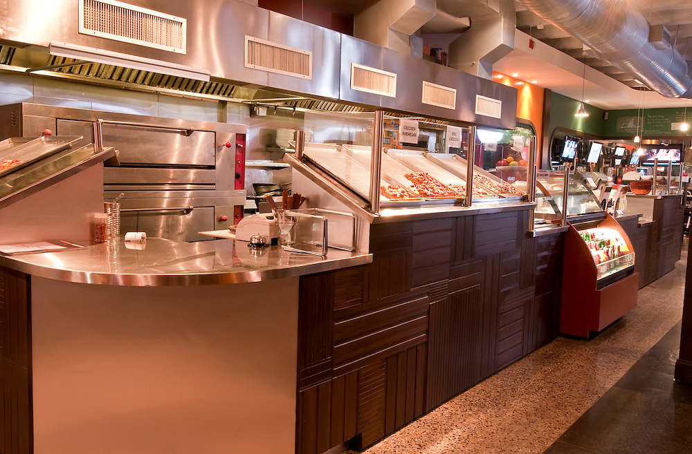 View of modern counter in pizza parlor and restaurant.