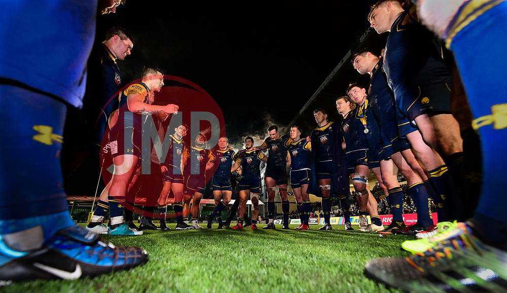 The Worcester team huddle after the game  - Mandatory by-line: Alex Davidson/JMP - 22/12/2017 - RUGBY - Sixways Stadium - Worcester, England - Worcester Warriors v London Irish - Aviva Premiership