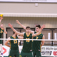 1st year middle Conal McAinsh (10) of the Regina Cougars in action during Men's Volleyball home game on November 18 at Centre for Kinesiology, Health and Sport. Credit: /Arthur Images