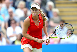 Denmark's Caroline Wozniacki in action against Czech Republic's Karolina Pliskova during the Women's Singles Final during day nine of the AEGON International at Devonshire Park, Eastbourne. PRESS ASSOCIATION Photo. Picture date: Saturday July 1, 2017. See PA story TENNIS Eastbourne. Photo credit should read: Steven Paston/PA Wire. RESTRICTIONS: Editorial use only, no commercial use without prior permission.