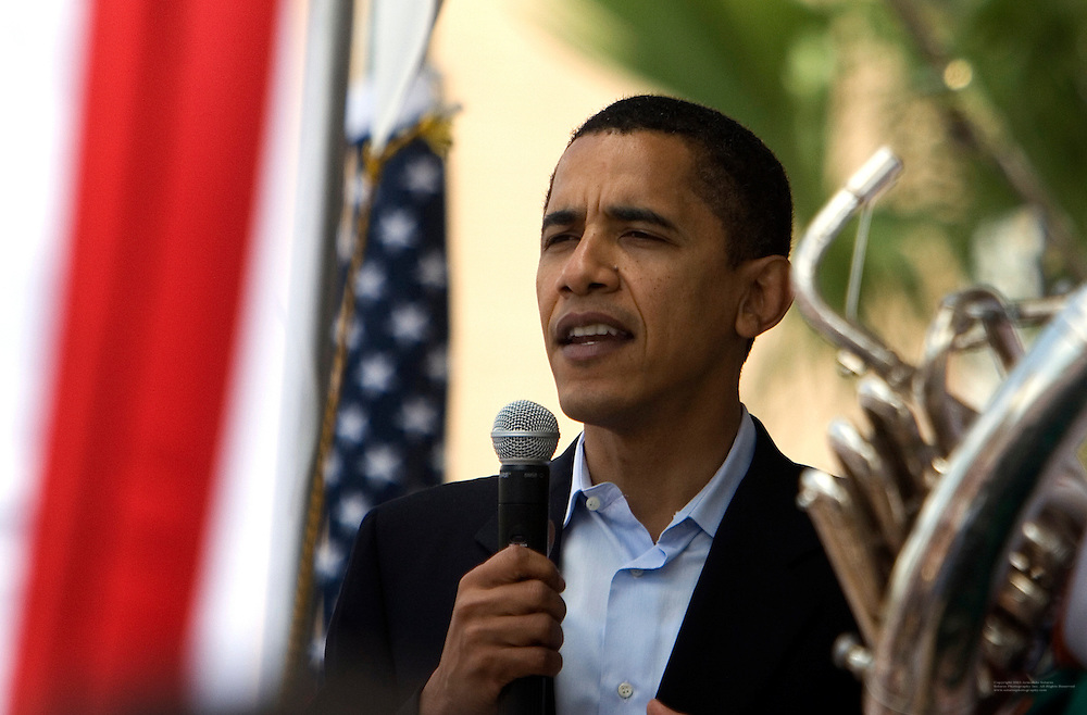 Senator and presidential hopeful Barak Obama visits Tampa, Florida and kicks-off his fund raising event at the Cuban Club in Ybor City.