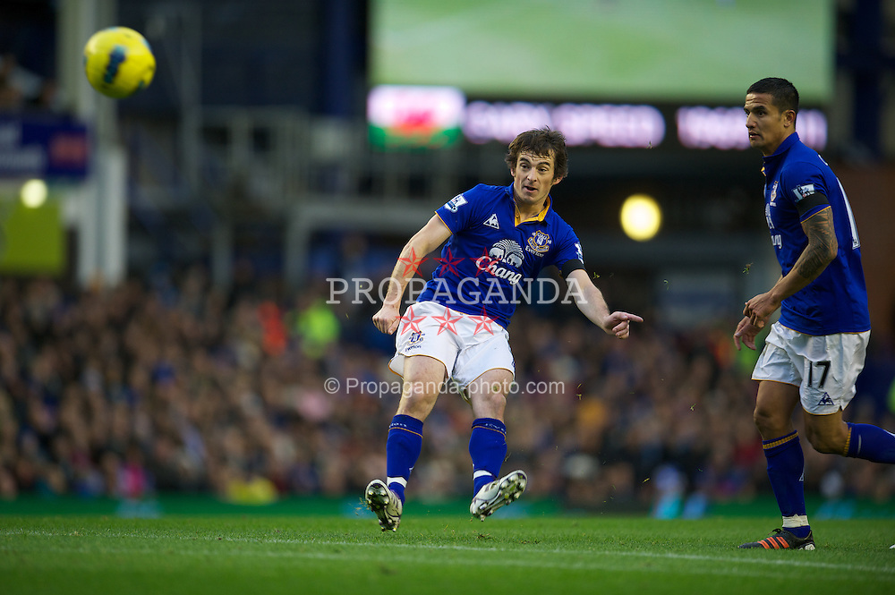 LIVERPOOL, ENGLAND - Sunday, December 4, 2011: Everton's Leighton Baines takes a free-kick against Stoke City during the Premiership match at Goodison Park. (Pic by David Rawcliffe/Propaganda)
