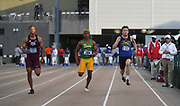 Kimberly Peterson (1133) of South Dakota, Maxwell Willis (204) of Baylor and Coby Hilton (1153) of South Dakota State run in a 100m heat during the NCAA West Track & Field Preliminary, Thursday, May 23, 2019, in Sacramento, Calif.