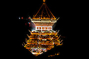 Illuminated Pagoda at night Photographed in China