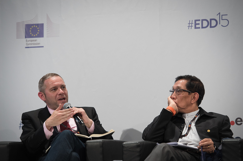 03 June 2015 - Belgium - Brussels - European Development Days - EDD - Inclusion - Social enterprise - Stemming the tide on income inequality - Peter Holbrook , Chief Executive , Social Enterprise UK - Aung Tun Thet<br /> President's Economic Advisor, Myanmar and Senior Advisor, United Nations (UN) &copy; European Union