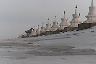 Mongolia. Erden Zuu . Hahorin.buddhist temple. in the snow    /   Le temple bouddhiste de Erden Zuu . en hiver