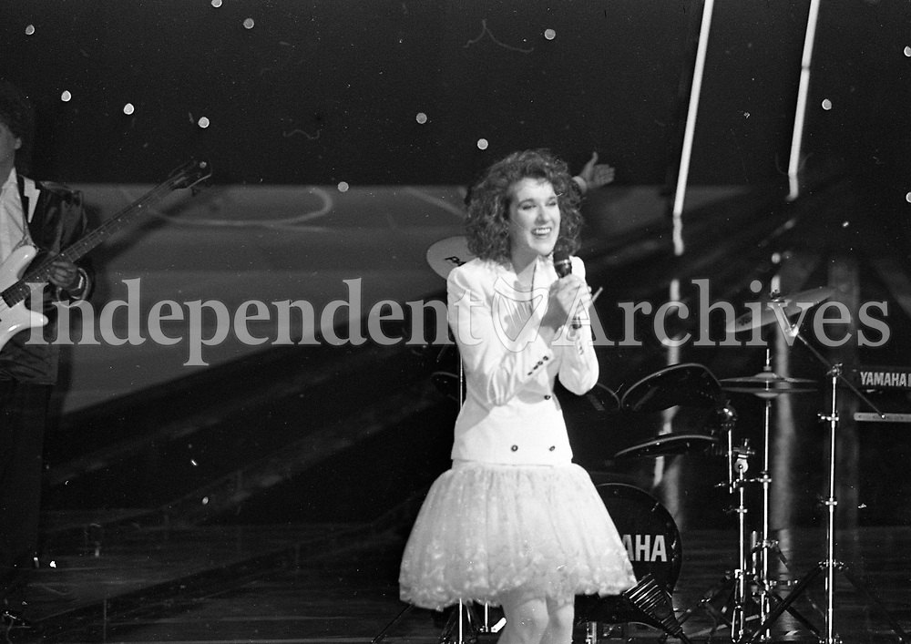 Eurovision Song Contest Winner Celine Dion of Switzerland on stage in the RDS, Dublin, 30/04/1988 (Part of the Independent Newspapers Ireland/NLI Colection).