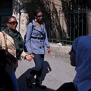 (03/14/2011 JERUSALEM)  Gospel singers Steve Wilson September Penn and Chelsi Butler walk the streets of Jerusalem among the traditionally dressed Arab women on a sight seeing tour of the city. It was the first time in Jerusalem for the gospel choir members.   [WILLIE J. ALLEN JR.]