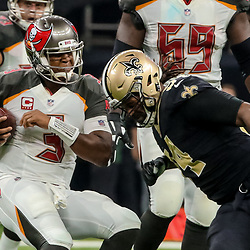 Nov 5, 2017; New Orleans, LA, USA; New Orleans Saints defensive end Cameron Jordan (94) pressures Tampa Bay Buccaneers quarterback Jameis Winston (3) during the first half of a game at the Mercedes-Benz Superdome. Mandatory Credit: Derick E. Hingle-USA TODAY Sports